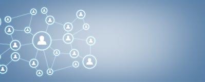 Επιχειρησιακή σύνδεση και κοινωνικό δίκτυο στο μπλε υπόβαθρο Στοκ φωτογραφία με δικαίωμα ελεύθερης χρήσης