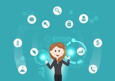 Επιχειρησιακή τεχνολογία, γυναίκα που λειτουργούν με τις πληροφορίες, στοιχεία, επένδυση, σημάδι και φουτουριστική διανυσματική α διανυσματική απεικόνιση