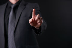 Επιχειρησιακή φουτουριστική έννοια οθόνης αφής, διεπαφή ώθησης δάχτυλων, πρότυπο σχεδίου Στοκ εικόνες με δικαίωμα ελεύθερης χρήσης