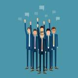 Επιχειρησιακή ψηφοφορία ανθρώπων megaphone γυναικείων ατόμων επιχειρησιακού καφέ ομάδα business businessman cmputer desk laptop m Στοκ φωτογραφίες με δικαίωμα ελεύθερης χρήσης