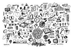 Επιχειρησιακή doodle διανυσματική απεικόνιση Εικονίδιο και συρμένα χέρι στοιχεία ελεύθερη απεικόνιση δικαιώματος