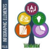 Επιχειρησιακή infographic απεικόνιση Αφηρημένο υπόβαθρο με μορφή δέντρου που αποτελούνται από συνδεμένος με τα ενσωματωμένα εικον Στοκ φωτογραφία με δικαίωμα ελεύθερης χρήσης