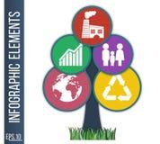 Επιχειρησιακή infographic απεικόνιση Αφηρημένο υπόβαθρο με μορφή δέντρου που αποτελούνται από συνδεμένος metaballs με τα ενσωματω Στοκ Εικόνα