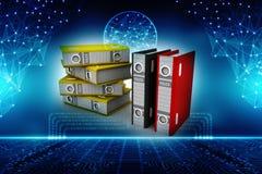 Επιχειρησιακοί αρχεία και φάκελλοι στο ψηφιακό υπόβαθρο τρισδιάστατος δώστε απεικόνιση αποθεμάτων