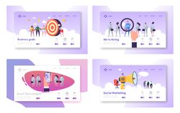 Επιχειρησιακοί στόχοι, έξυπνες τεχνολογίες, μίσθωση, κοινωνικά μάρκετινγκ πρότυπα σελίδων ιστοχώρου προσγειωμένος καθορισμένα Επι ελεύθερη απεικόνιση δικαιώματος