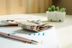 Επιχειρησιακός εξοπλισμός με τη μάνδρα και χρήματα που τοποθετούνται στις πληροφορίες pape Στοκ φωτογραφία με δικαίωμα ελεύθερης χρήσης