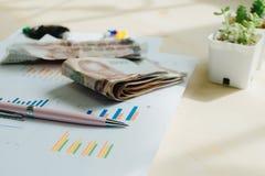 Επιχειρησιακός εξοπλισμός με τη μάνδρα και χρήματα που τοποθετούνται στις πληροφορίες pape Στοκ φωτογραφίες με δικαίωμα ελεύθερης χρήσης