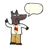 επιχειρησιακός λύκος κινούμενων σχεδίων με την ιδέα με τη λεκτική φυσαλίδα Στοκ Φωτογραφία