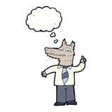επιχειρησιακός λύκος κινούμενων σχεδίων με την ιδέα με τη σκεπτόμενη φυσαλίδα Στοκ φωτογραφία με δικαίωμα ελεύθερης χρήσης