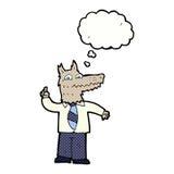 επιχειρησιακός λύκος κινούμενων σχεδίων με την ιδέα με τη σκεπτόμενη φυσαλίδα Στοκ Εικόνες