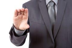 Επιχειρησιακό άτομο για να κρατήσει τη επαγγελματική κάρτα, την πιστωτική κάρτα, το κενό έγγραφο ή το ο Στοκ Εικόνες
