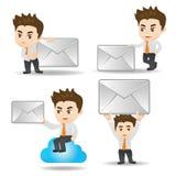 Επιχειρησιακό άτομο κινούμενων σχεδίων με το ηλεκτρονικό ταχυδρομείο ελεύθερη απεικόνιση δικαιώματος