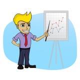 Επιχειρησιακό άτομο με ένα διάγραμμα - απομονωμένη απεικόνιση κινούμενων σχεδίων Στοκ εικόνες με δικαίωμα ελεύθερης χρήσης