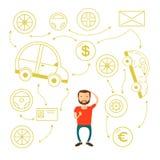 Επιχειρησιακό άτομο με μια σκέψη γενειάδων την επιλογή Έννοια απόφασης αγοράζει ένα αυτοκίνητο και δεν μπορεί να επιλέξει Στοκ Φωτογραφίες