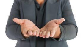Επιχειρησιακό άτομο με τα ανοικτά χέρια στο λευκό Στοκ Εικόνες