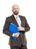 Επιχειρησιακό άτομο με τον μπλε φάκελλο στοκ εικόνες