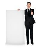 Επιχειρησιακό άτομο με το κενό χαρτόνι Στοκ Εικόνες