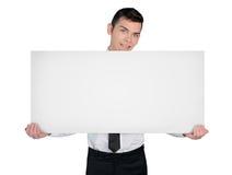 Επιχειρησιακό άτομο με το κενό χαρτόνι Στοκ εικόνες με δικαίωμα ελεύθερης χρήσης