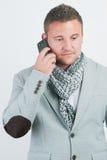 Επιχειρησιακό άτομο με το κινητό τηλέφωνο Στοκ φωτογραφία με δικαίωμα ελεύθερης χρήσης