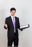 Επιχειρησιακό άτομο με το σημειωματάριο και τη μάνδρα στοκ εικόνες