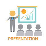 Επιχειρησιακό άτομο παρουσίασης που παρουσιάζει διάγραμμα κτυπήματος με τη γραφική παράσταση χρηματοδότησης, εκπαιδευτικός τη συν απεικόνιση αποθεμάτων