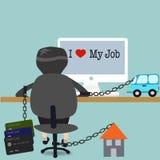 Επιχειρησιακό άτομο που εργάζεται για τα χρέη του διανυσματική απεικόνιση
