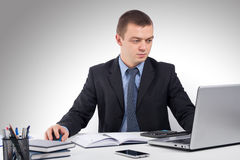 Επιχειρησιακό άτομο που εργάζεται με τα έγγραφα και το lap-top Στοκ Εικόνα