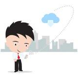 Επιχειρησιακό άτομο που εργάζεται στην έννοια υπολογισμού σύννεφων με την ασφάλεια Διαδικτύου που απομονώνεται στο άσπρο υπόβαθρο Στοκ φωτογραφίες με δικαίωμα ελεύθερης χρήσης