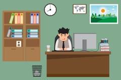 Επιχειρησιακό άτομο που εργάζεται στο γραφείο του που έχει το φλυτζάνι καφέ στο γραφείο διανυσματική απεικόνιση