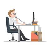 Επιχειρησιακό άτομο που εργάζεται στο γραφείο Διανυσματική απεικόνιση