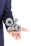 Επιχειρησιακό άτομο που κρατά μια τρισδιάστατη τοις εκατό παλάμη χεριών συμβόλων διαθέσιμη Στοκ εικόνα με δικαίωμα ελεύθερης χρήσης
