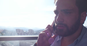 Επιχειρησιακό άτομο που μιλά στο τηλέφωνο κυττάρων στο σπίτι Στοκ Εικόνα