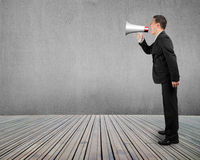 Επιχειρησιακό άτομο που χρησιμοποιεί megaphone που φωνάζει με το συμπαγή τοίχο ξύλινο φ Στοκ εικόνες με δικαίωμα ελεύθερης χρήσης