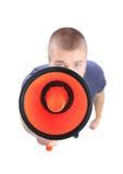 Επιχειρησιακό άτομο που χρησιμοποιεί megaphone στην άσπρη ανασκόπηση Στοκ Φωτογραφίες