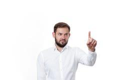 Επιχειρησιακό άτομο που ωθεί πλήκτρο το ΟΝ Στοκ φωτογραφίες με δικαίωμα ελεύθερης χρήσης