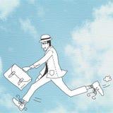 Επιχειρησιακό άτομο στη βιασύνη. Υπόβαθρο μπλε ουρανού Στοκ Εικόνα