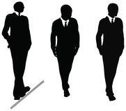 Επιχειρησιακό άτομο στη σκιαγραφία κοστουμιών και δεσμών. Απεικόνιση στο λευκό απεικόνιση αποθεμάτων