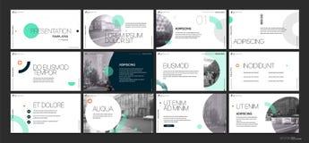 Επιχειρησιακό διάνυσμα παρουσίασης Template Πράσινα γεωμετρικά στοιχεία για τις παρουσιάσεις φωτογραφικών διαφανειών για ένα άσπρ Στοκ Εικόνα