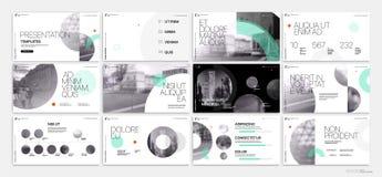 Επιχειρησιακό διάνυσμα παρουσίασης Template Πράσινα γεωμετρικά στοιχεία για τις παρουσιάσεις φωτογραφικών διαφανειών για ένα άσπρ Στοκ εικόνα με δικαίωμα ελεύθερης χρήσης