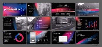 Επιχειρησιακό διάνυσμα παρουσίασης Template Στοιχεία κλίσης για τις παρουσιάσεις φωτογραφικών διαφανειών για ένα άσπρο υπόβαθρο Στοκ Εικόνες