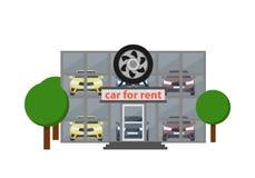 Επιχειρησιακό εικονίδιο ενοικίου με την αίθουσα εκθέσεως αυτοκινήτων Στοκ Φωτογραφία