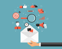 Επιχειρησιακό ηλεκτρονικό ταχυδρομείο που εμπορεύεται το ικανοποιημένο υπόβαθρο σύνδεσης Κοινωνική επικοινωνία δικτύων ελεύθερη απεικόνιση δικαιώματος
