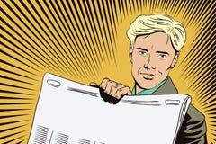 Επιχειρησιακό διάνυσμα παρουσίασης Template Το άτομο παρουσιάζει μια εφημερίδα Στοκ φωτογραφίες με δικαίωμα ελεύθερης χρήσης