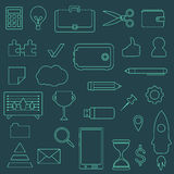 Επιχειρησιακό διανυσματικό σύνολο εικονιδίων περιγράμματος Στοκ Εικόνες