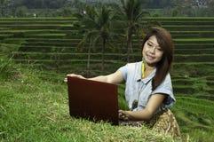 Επιχειρησιακό κορίτσι στο τοπίο τομέων ρυζιού. στοκ φωτογραφία με δικαίωμα ελεύθερης χρήσης