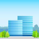 Επιχειρησιακό κτίριο γραφείων, σκιαγραφία ακίνητων περιουσιών Στοκ φωτογραφία με δικαίωμα ελεύθερης χρήσης