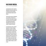 Επιχειρησιακό πρότυπο για το φυλλάδιο, το περιοδικό, το ιπτάμενο, το βιβλιάριο ή τη ετήσια έκθεση Δομή μορίων DNA σε ένα μπλε υπό Στοκ Φωτογραφία