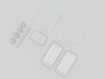Επιχειρησιακό πρότυπο προτύπων Σύνολο στοιχείων στον άσπρο πίνακα Στοκ Φωτογραφία