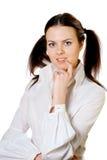 Επιχειρησιακό σκεπτόμενο κορίτσι στο λευκό Στοκ εικόνες με δικαίωμα ελεύθερης χρήσης