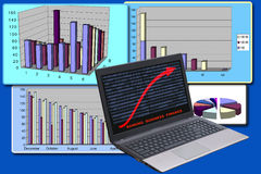 Επιχειρησιακό υπόβαθρο με το lap-top και τα διαγράμματα Απεικόνιση αποθεμάτων